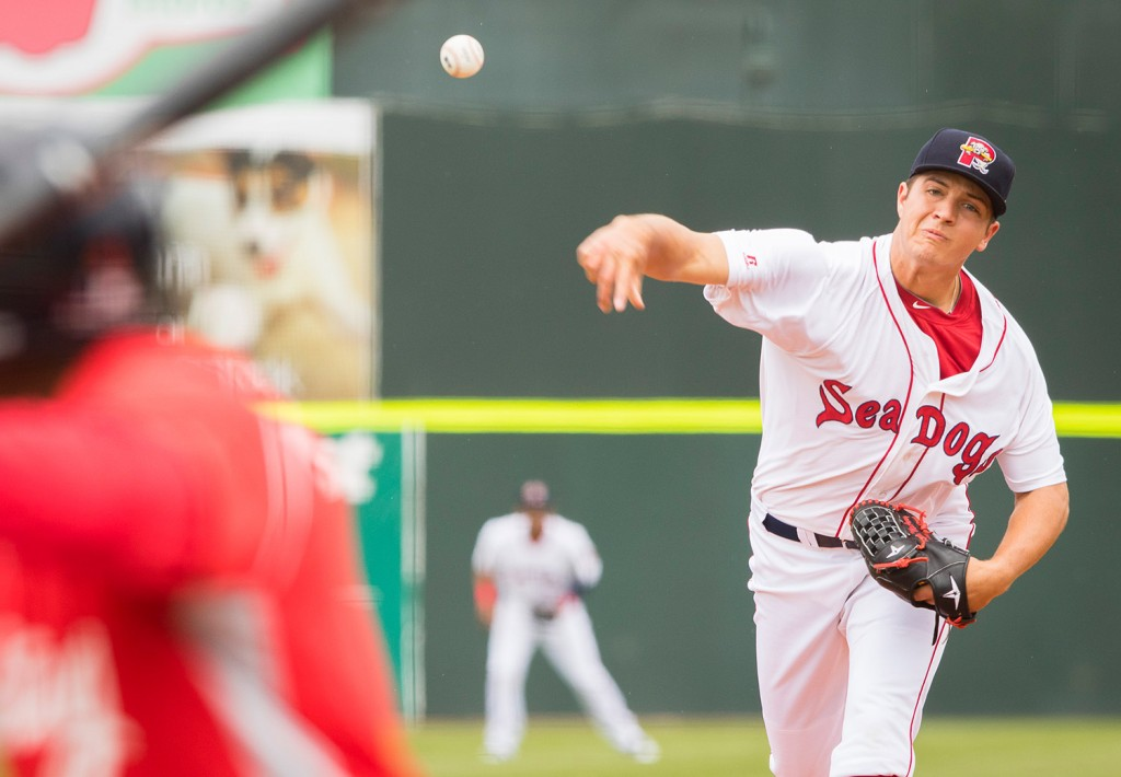 Sea Dogs starting pitcher Kevin McAvoy releases a pitch to the plate at Hadlock Field. McAvoy was relieved after 3 1/3 innings, having given up four runs and five hits.