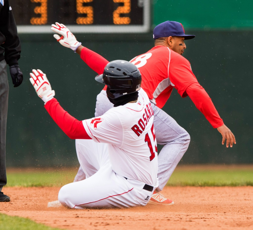 Portland baserunner Rainel Rosario slides safely into second after his fifth-inning single, and an error by Reading outfielder Dylan Cozens.