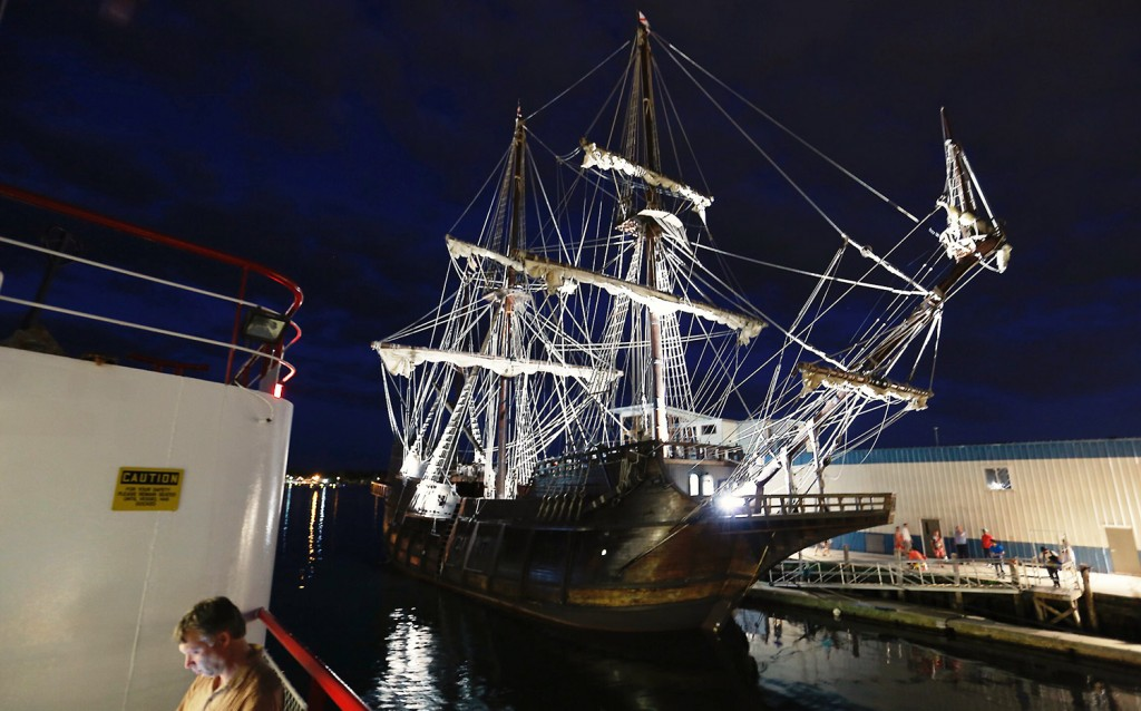 The El Galeon, seen from the upper deck of the Casco Bay ferry Maquoit II, sits docked at the Maine Wharf on Tuesday night.