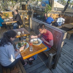 The Tree House Cafe features a large outdoor deck.