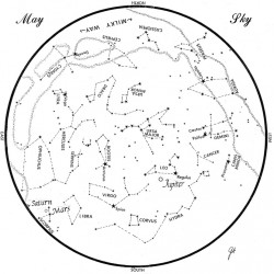SKY GUIDE: This chart represents the sky as it appears over Maine during May. The stars are shown as they appear at 10:30 p.m. early in the month, at 9:30 p.m. at midmonth and at 8:30 p.m. at month's end. Saturn, Mars and Jupiter are shown in their midmonth positions. To use the map, hold it vertically and turn it so that the direction you are facing is at the bottom.