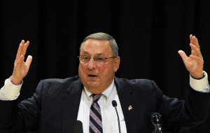 Gov. Paul LePage appears at a town hall meeting in Biddeford last month. Associates say the chief executive's frustration has grown with the news media, as well as with the lack of progress at the State House on his agenda to reform state government.