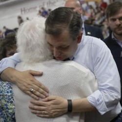 Sen. Ted Cruz, R-Texas, hugs a supporter at a campaign rally in Lafayette, Ind., on Sunday.