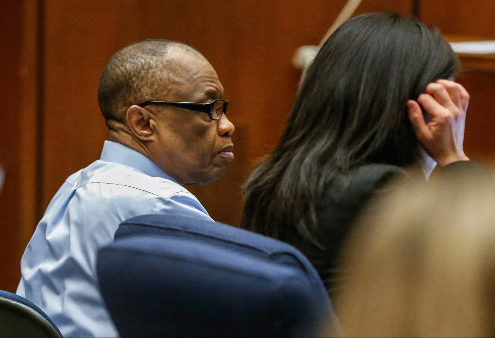 """FILE- In this Feb. 16, 2016, file photo, Lonnie Franklin Jr., left, appears in Los Angeles Superior Court for opening statements in his trial in Los Angeles.  The """"Grim Sleeper"""" serial killer trial is coming to a close in Los Angeles after months of testimony. Closing arguments were scheduled to begin Monday, May 2, 2016, in the trial of Franklin. He's charged with killing nine women and a 15-year-old girl between 1985 and 2007."""