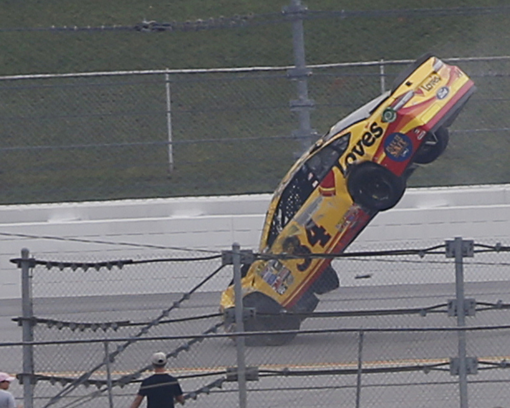Chris Buescher's car goes airborne during Sunday's Sprint Cup race in Talladega, Alabama. The race was marred by crashes, a common occurrence at restrictor plate tracks.