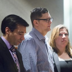 Noah Gaston, 33, of Windham, pleads not guilty to charges of murder for shooting his wife, 34-year-old Alicia Gaston, to death in the stairway of their home. Besides his attorneys, Luke Rioux, left, and Temma Donahue, right, no one attended Tuesday's hearing in support of Gaston.