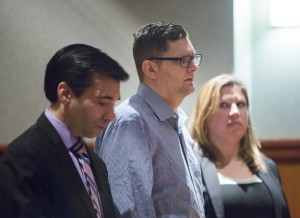 Noah Gaston, 33, of Windham pleads not guilty to charges of murder and manslaughter for shooting his wife, Alicia Gaston, to death in their home. Besides his attorneys, Luke Rioux, left, and Temma Donahue, right, no one attended Tuesday's hearing in support of Gaston.
