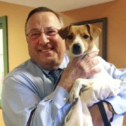 """The Greater Androscoggin Humane Society posted a picture on Facebook saying Gov. Paul LePage adopted a new """"first dog"""" and named him Veto. This comes after the death of his previous Jack Russell terrier, Baxter."""