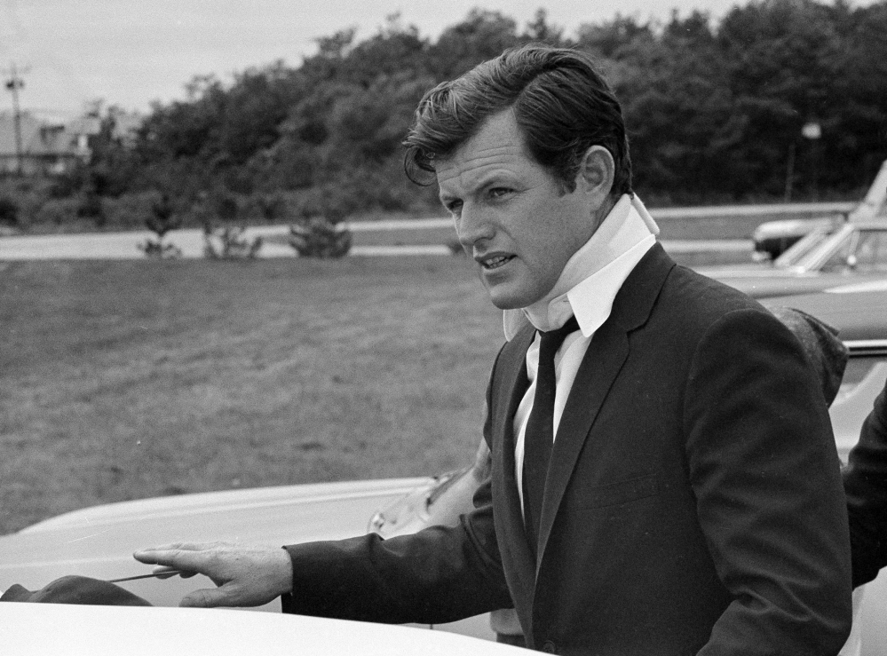 U.S. Sen Edward Kennedy, D-Mass., arrives at his home in Hyannisport, Mass., on July 22, 1969, after attending the funeral of Mary Jo Kopechne in Pennsylvania.