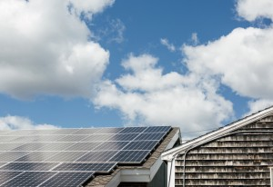 A rooftop solar array provides electricity to South Portland's planning and development offices.