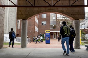 Students change classes Tuesday near Luther Bonney Hall at the University of Southern Maine in Portland. At USM, which also has campuses in Gorham and Lewiston, enrollment for the fall of 2016 has so far risen by 10 percent, to 563 first-year students.