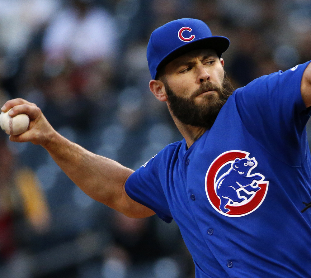 Jake Arrieta of the Cubs dominated the Pirates Tuesday night, scattering two hits in seven shutout innings of a 7-1 victory. Arietta has six wins this season.