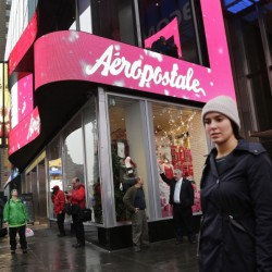 Aeropostale's 800 stores include this one in New York City's Times Square. Once the vibrant epicenter of the U.S. mall scene, the chain sought Chapter 11 bankruptcy protection Wednesday with its share price hovering around 3 cents.
