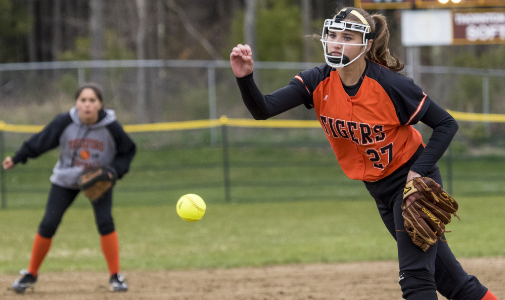 Kirsten Lebreux was the leader while pitching and hitting Wednesday for Biddeford in an 11-7 victory against Thornton Academy. Lebreux struck out six, but also hit a home run and drove in two runs – part of a 15-hit offense for the Tigers, who improved to 5-1.