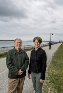 Tom Jewell and Kara Wooldrik at the Eastern Promenade Trail by East End Beach. Jewell was co-founder of the Portland Trails system and Wooldrik is the executive director.