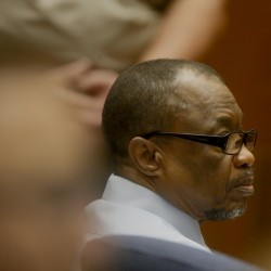 "Lonnie Franklin Jr. appears in Los Angeles Superior Court during closing arguments of his trial Monday in Los Angeles. He was found guilty in the 10 ""Grim Sleeper"" killings."