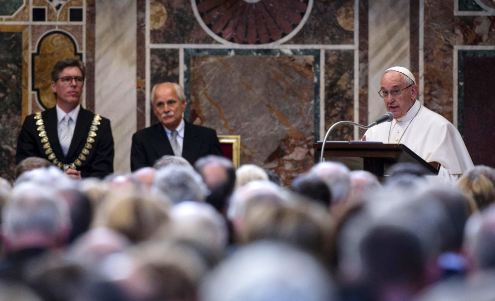 Pope Francis accepts a prize for promoting European unity on Friday and bemoans that the continent's people