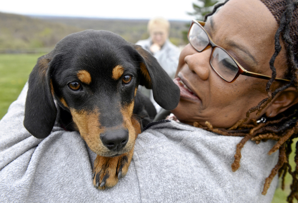 Linda Watkins gives Bitsy a hug at the Federal Correctional Institute, in Danbury, Conn. They are taking part in a new dog training program that has started at the Federal Correctional Institution's minimum-security women's camp in Connecticut.