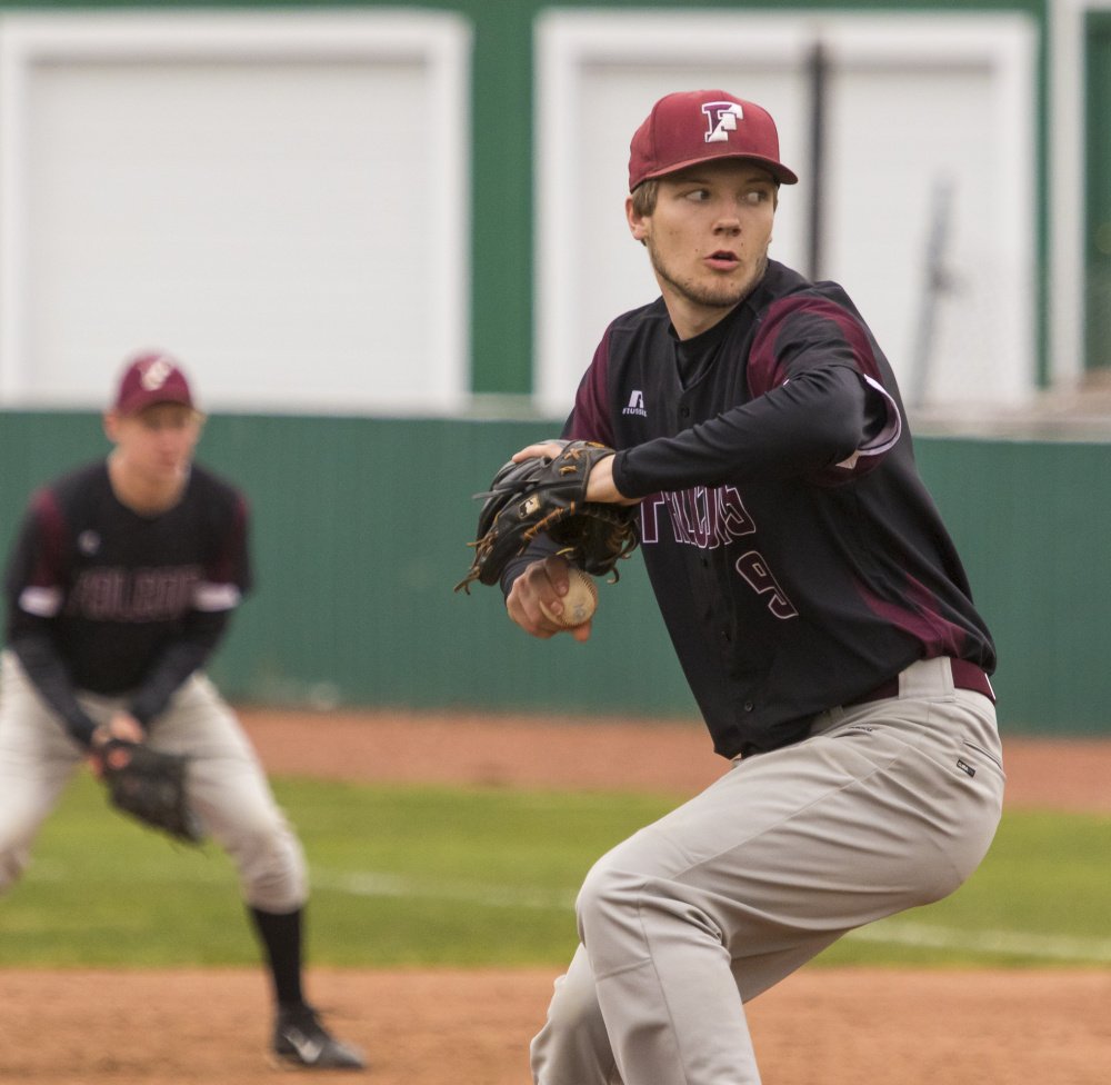 Freeport's Jack Davenport delivers a pitch Saturday against Old Orchard Beach during a Western Maine Conference baseball game at The Ballpark. Davenport didn't allow a hit in a 1-0 victory.
