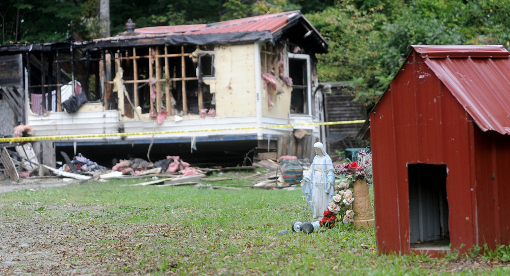 A mobile home at 289 Brown's Corner Road in Canaan was destroyed by fire on Sept. 21, killing seven pets. The owners, Brian Aldo Baldie and Ron Pelletier, have a new apartment and two new cats.