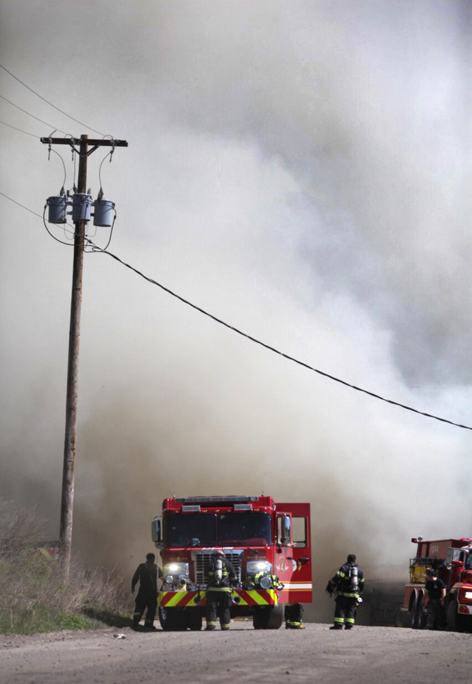 The fire at Aggregate Recycling Corporation on Route 236, also known as Dow Highway, in Eliot produced much smoke.