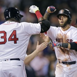 Boston's Dustin Pedroia, right, is congratulated by David Ortiz after his two-run home run in the fourth inning Wednesday night at Fenway Park.