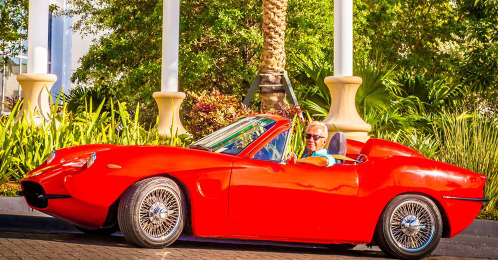 Bruce Dietzen used hemp to build his red sports car. With the exception of engine parts, the windshield and mirrors, nearly every part of the car is made from hemp.