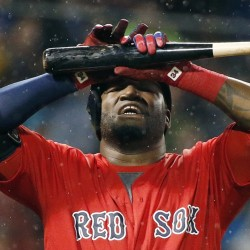 Boston's David Ortiz reacts after flying out in the seventh inning of Friday's game at Fenway Park.
