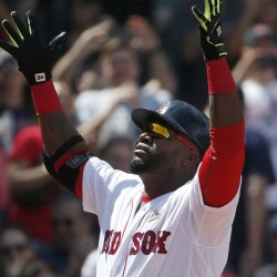 David Ortiz celebrates his solo home run during the third inning of a baseball game against the Houston Astros in Boston on Saturda. (AP Photo/Michael Dwyer)