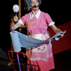 Julie Goell in character as a mime and clown. Her motor skills have deteriorated as a result of atypical Parkinson's disease and she, with the help of a community of friends on Peaks Island, has come out with a memoir and how-to manual for clowing.