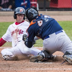 Sea Dogs centerfielder Cole Sturgeon is tagged out at home by Binghamton Mets' catcher Xorge Carrillo during Portland's Loss at Hadlock Field Sunday.