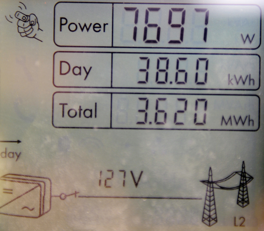A meter on Thursday at the Sky Ranch Solar Farm in Wayne that is owned by a group of people.