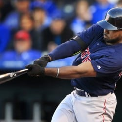 Boston's Jackie Bradley Jr. hits a solo home run off Royals starter Edinson Volquez in the second inning of a Wednesday's second game of a doubleheader in Kansas City, Mo. The hit extended Bradley's hitting streak to 24 games.