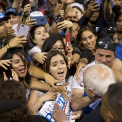 Democratic presidential candidate Sen. Bernie Sanders, I-Vt., greets supporters after speaking at a rally on Tuesday in Carson, Calif. As Kentucky slid away from Sanders on Tuesday, some of his supporters turned on the state's secretary of state.