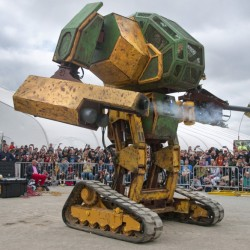 Maine brothers will be contributing to an enhanced version of this prototype by MegaBots Inc., seen in San Mateo, Calif., last year.
