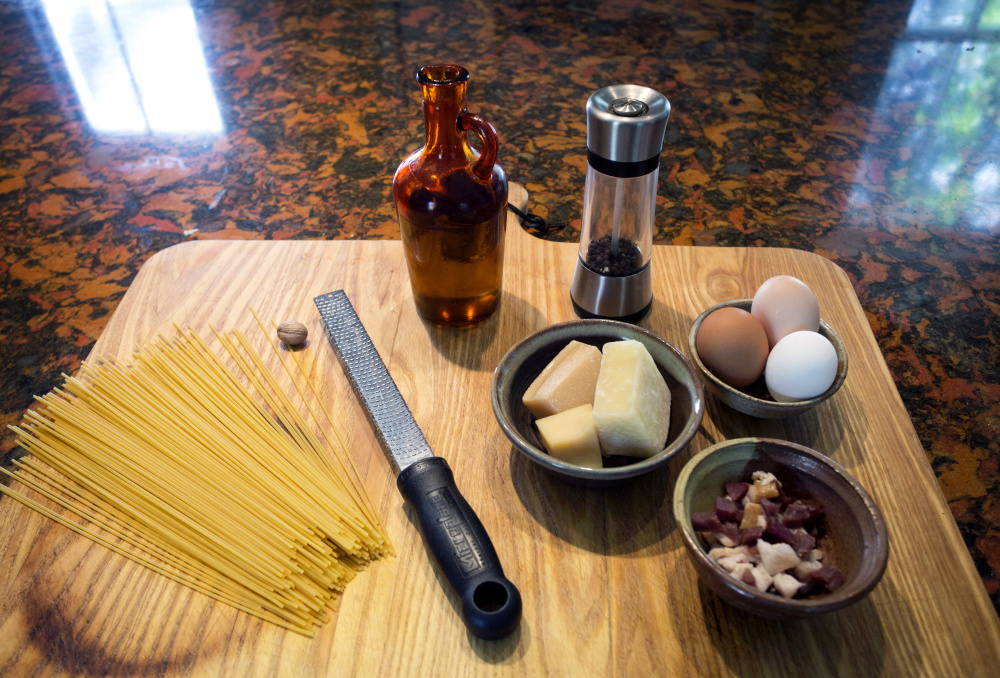 Carbonara can be made with a variety of pasta noodles, cheese and meat products.