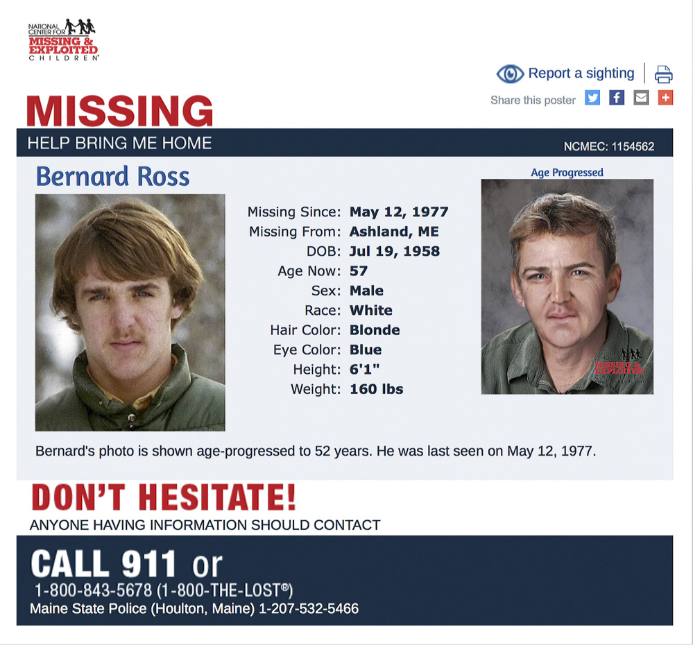 A missing person poster shows Bernard Ross, who disappeared in 1977 in Fort Kent when he was 18 years old.