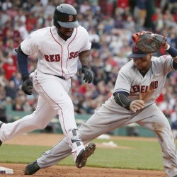 Boston's Jackie Bradley Jr. beats out an infield single in the sixth inning to extend his hitting streak to 26 in Boston's 9-1 Saturday at Fenway Park.