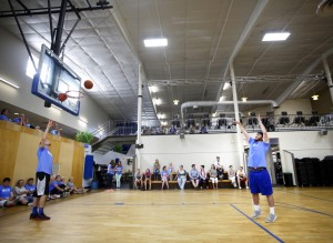 Nick Emmons, 20, of Kennebunk shoots a foul shot during the final round of the first Jim Sandler Memorial Foul Shooting Championship at Saco Sports and Fitness. Emmons, a former baseball and football player at Kennebunk High School, won the event and took home $100.