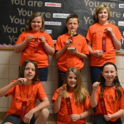 Biddeford Intermediate School Math Meet Team members (from left, back row) include individual champion Emma Raymond, Patrick O'Driscoll and McKenna Peaslee; (front row) Liam Nierle, Hannah McCurry and Kayleigh Keely.