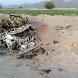 A photo taken by a freelancer shows the vehicle believed to have been carrying top Taliban leader Akhtar Mohammad Mansour when it was destroyed in an airstrike Saturday in the Baluchistan province of Pakistan, near Afghanistan's border.