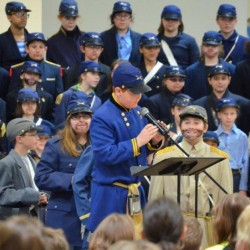 Students from Brunswick's Harriet Beecher Stowe School appear at a Civil War-themed event. The 20-year practice of re-creating Pickett's Charge with fifth-graders will end this week.
