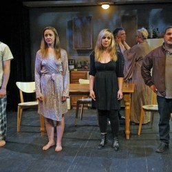 """The Mad Horse Theatre Company ensemble cast of """"Stupid F**king Bird."""" The show is on stage through June 5."""