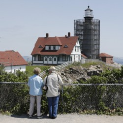 Rose and Richard Ouellette of Michigan visit Fort Williams Park on Monday. The Ouellettes' late son was an artist who loved painting lighthouses, especially Portland Head, said Rose Ouellette, who was disappointed to not be able to see the lighthouse.