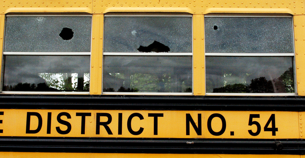 Vandals shattered many windows in School Administrative District 54 school buses in Skowhegan.