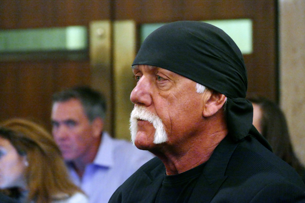 Hulk Hogan, whose real name is Terry Bollea, appears in court Wednesday in St. Petersburg, Fla., where a judge denied Gawker's motion for a new trial in Hogan's sex-video case.