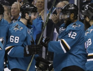 Joel Ward of the Sharks, right, celebrates his goal with Melker Karlsson in the second period Wednesday night in Game 6 of the Western Conference final at San Jose, Calif.