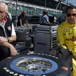 Car owner Roger Penske, left, seen Thursday with driver Helio Castroneves of Brazil during a practice session for the Indianapolis 500, is regarded as one of the most influential – and respected – nondrivers at Indianapolis Motor Speedway.