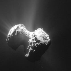 European Space Agency photo taken by the Rosetta probe shows the comet 67P/Churyumov-Gerasimenko with its coma from a distance of 106 miles from the comet center.