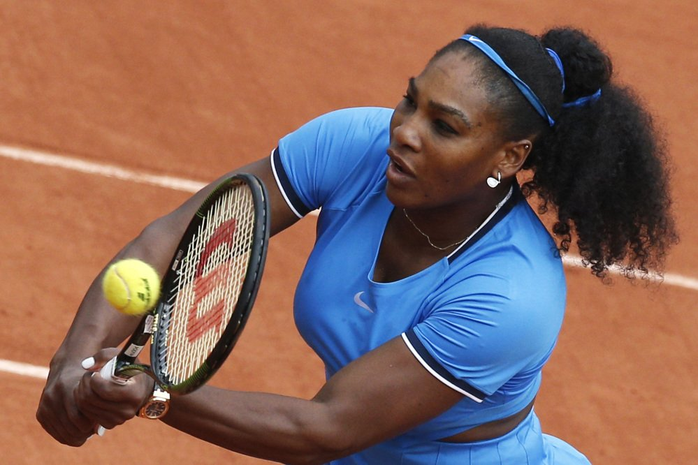 Serena Williams dicated play after a 2  hour delay and beat No. 26 seed Kristina Mladenovic in the third round of the French Open on Saturday in Paris.